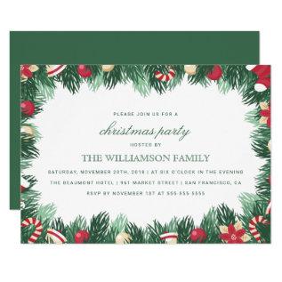 Festive Botanical Border Christmas Party Card at Zazzle