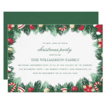 Festive Botanical Border Christmas Party Invitation