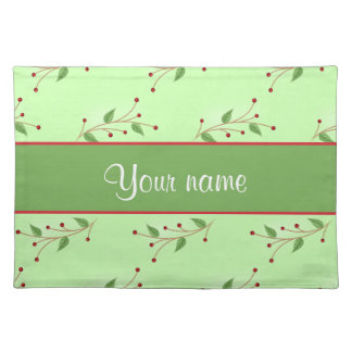 Festive Branches and Berries Cloth Placemat