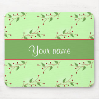 Festive Branches and Berries Mouse Pad
