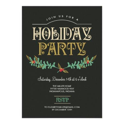 Festive Branches Holiday Party Invitation Custom Invite