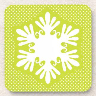 Festive Bright Green Snowflake Coaster Set