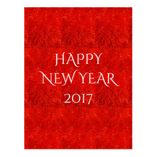 Festive Bright Red Color Happy New Year Text Postcard