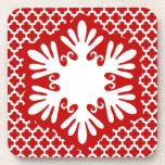 Festive Bright Red Snowflake Coaster Set