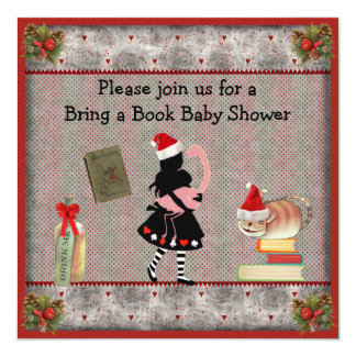 Festive bring a book alice amp flamingo baby shower invitation