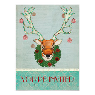 FESTIVE BUCK Blue Holiday Invitation