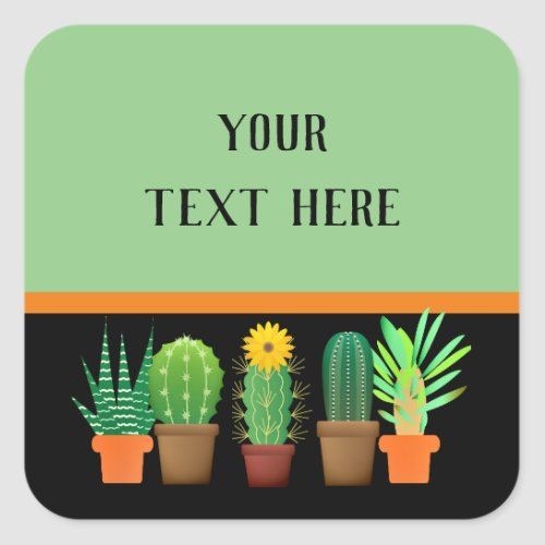Festive Cactus and Succulents Square Sticker
