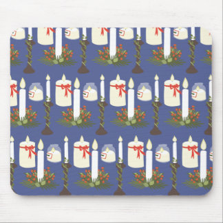 Festive Candle Print Blue Mouse Pad