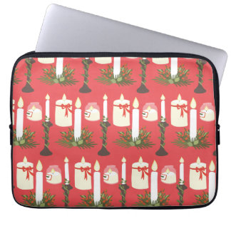 Festive Candles Print Red Computer Sleeve