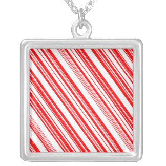 Festive Candy Cane 4Irene Silver Plated Necklace