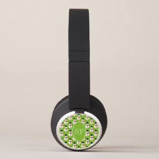 Festive Cartoon Snowman Monogram Headphones
