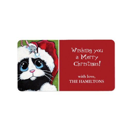 Festive cat amp mouse christmas gift tag labels zazzle