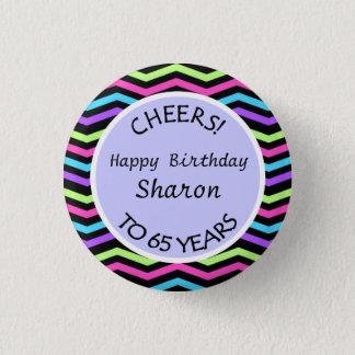 Festive Chevron 65th Birthday or Anniversary Gift Button