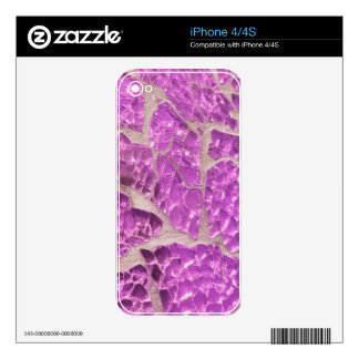 Festive Chic Shiny Pink Grey Stones Decals For iPhone 4S