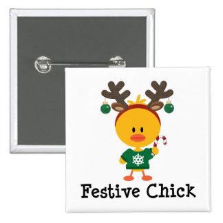 Festive Chick 2 Inch Square Button