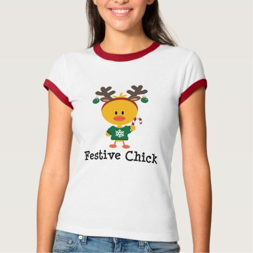 Festive Chick T-Shirt After Christmas Sales 5626