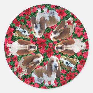 Festive Christmas Basset Hound Stickers