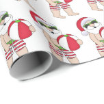 """Festive Christmas Beach Santa tiled party Wrapping Paper<br><div class=""""desc"""">design by Kristi W. Designs at www.graphicsnbits.com</div>"""