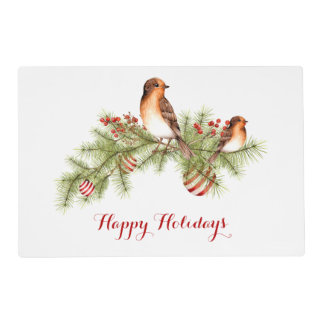 Festive Christmas Bird Pine Branches Holly Placemat