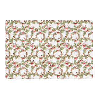 Festive Christmas Bird Pine Branches Wreath Placemat