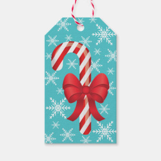 Festive Christmas Candy Cane With A Bow Pack Of Gift Tags