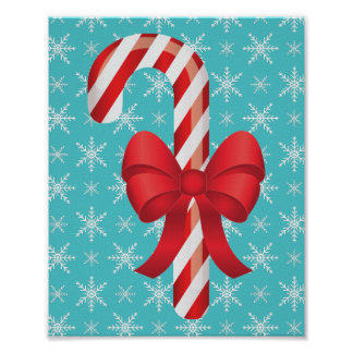Festive Christmas Candy Cane With A Bow Poster