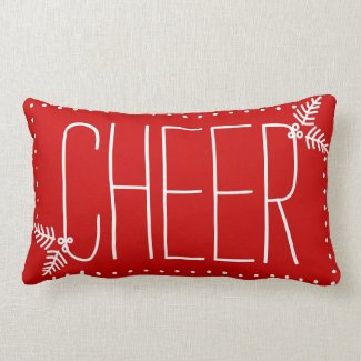 Festive Christmas Cheer Red White Winter Pillow