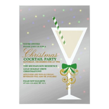 Christmas Themed Festive Christmas Cocktail Party Invitation