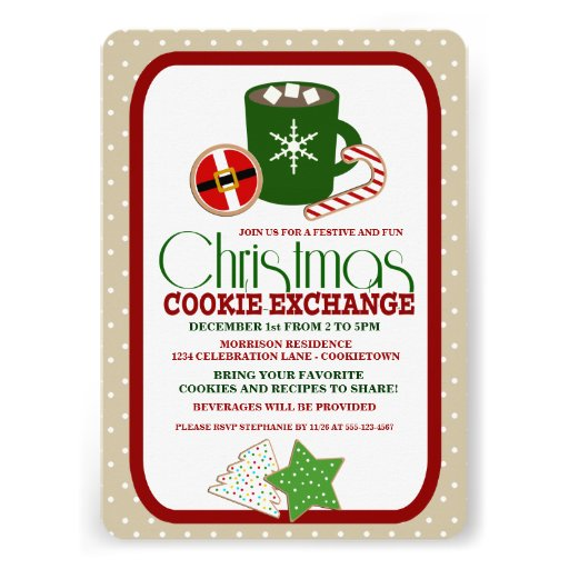 """Festive Christmas Cookie Exchange Party 5"""" X 7"""" Invitation ..."""