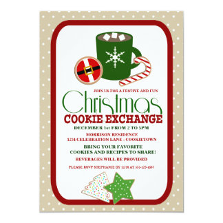 Festive Christmas Cookie Exchange Party 5x7 Paper Invitation Card