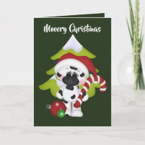 Festive Christmas cow add greeting card