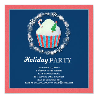 Festive Christmas Cupcake Holiday Dinner Party Card at Zazzle