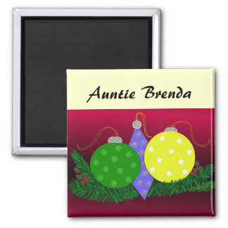 Festive Christmas Decorations Place Holder 2 Inch Square Magnet