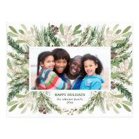 Festive Christmas Floral Holiday Photo Postcard