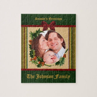 Festive Christmas Frame Holly Red Bow Green Stripe Jigsaw Puzzle