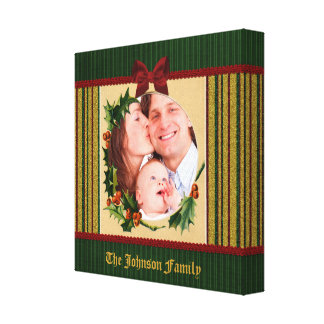 Festive Christmas Frame Red Bow Green Stripe Gold Canvas Print