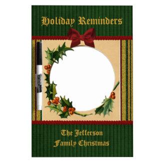 Festive Christmas Frame Red Bow Green Stripe Gold Dry-Erase Board