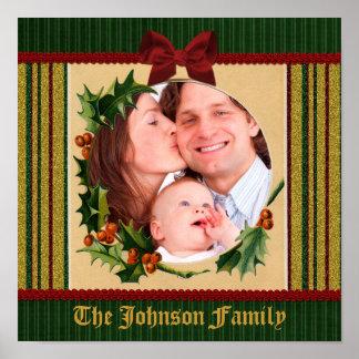 Festive Christmas Frame Red Bow Green Stripe Gold Poster