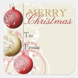Festive Christmas Gift Tag Sticker Square Sticker