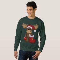 Festive Christmas Holiday moose mens sweatshirt