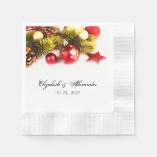 Festive Christmas Holiday Wedding Cocktail Napkins
