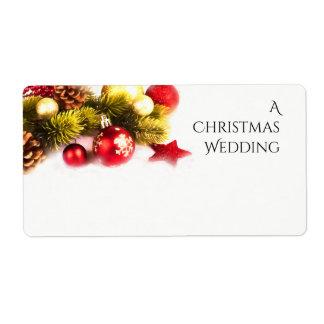 Festive Christmas Holiday Wedding Labels