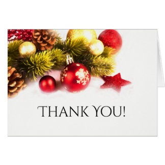 Festive Christmas Holiday Wedding Thank You Card