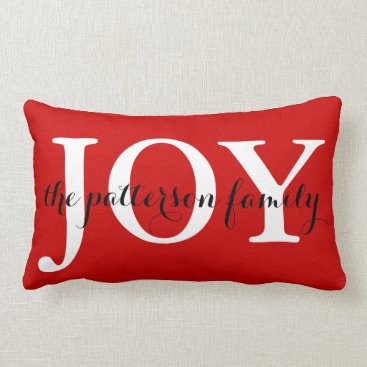 Christmas Themed Festive Christmas Joy Red White Personalized Lumbar Pillow