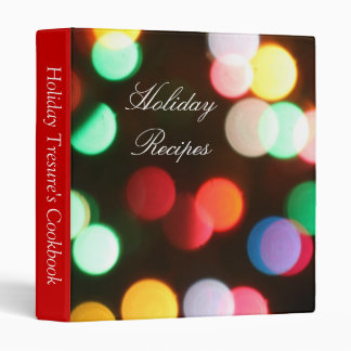 Festive Christmas Lights Red Holiday Recipe Binder