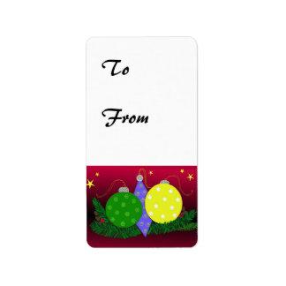 Festive Christmas Ornament Gifttag Custom Address Label