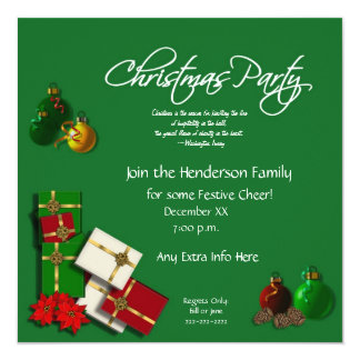 Festive Christmas Party Invitation-with Quote Card