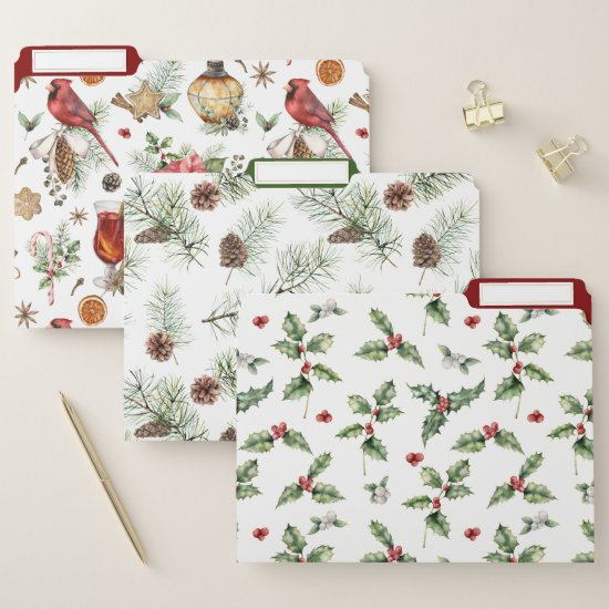 Festive Christmas Patterns Red Birds Pine Holly File Folder