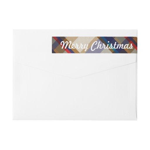 Festive Christmas Plaid Skinny Labels Wraparound Return Address Label