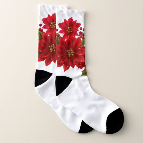 Festive Christmas Poinsetta Holiday socks
